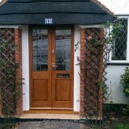 1pr purpose made oak porch doors and frame with leaded glass