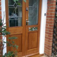 Close up of oak porch doors